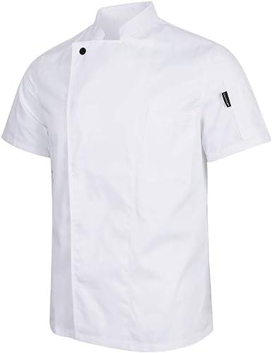 Chaqueta De Chef Unisex Ropa Ocultos Festiva Chaqueta con Botones De Panadero Gastronomía Ropa De Chef Camisa De Chef Abrigo De Camarero De Manga Corta Uniforme De Chef: Amazon.es: Ropa y accesorios