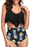 Adisputent Women's Two Piece Swimsuit Flounce Ruffles Swimwear Junior Vintage Bathing Suit High Waisted Bottom Bikini Set (Tassel Pineapple,L)