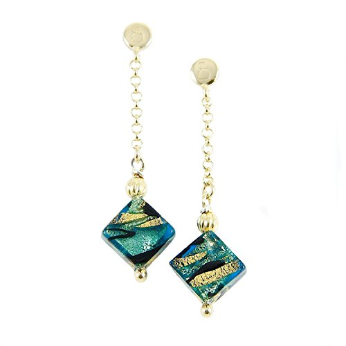 Woman's earrings with Murano glass bead mounted on a 925 silver 24k gold plated rolo chain. OCD068-Y01