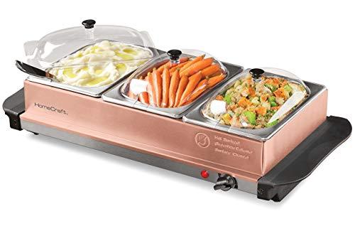 Nostalgia BSC15 3-Station 1.5-Quart Buffet Server Warming Tray Copper (Renewed) ()
