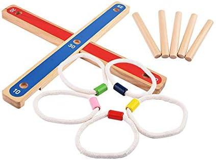 AIOJY スタッキングタワー インタラクティブな組み立てゲーム 親子用 木製インドアスローモーションプレイシング 誘導パズル 幼稚園 アウトドア ビーチ 物理教育玩具 プラスチックリング 色
