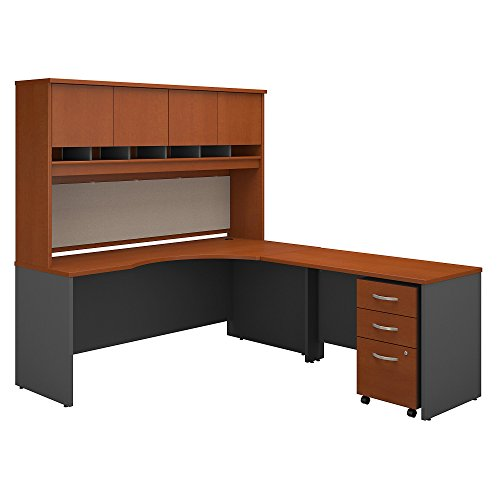 - Bush Business Furniture Series C 72W Right Handed Corner Desk with Hutch and Mobile File Cabinet in Auburn Maple