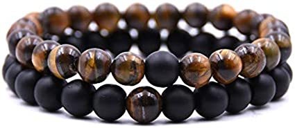 Usstore  2PCS Adults Unisex Natural Stone Bracelet Fashion 8mm Lava Rock Chakra Beads Elastic Frosted Agate String Gift D, 7-7.5INCH