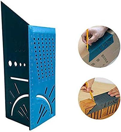 Holzbearbeitung 3D Gehrungswinkel messen quadratische Gr/ö/ße Messwerkzeug mit Messger/ät /& Lineal Tools-Green Lineal