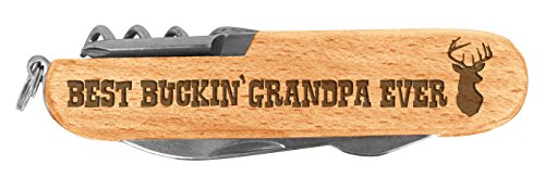 Fathers Day Gift for Grandpa Buckin Grandpa Laser Engraved Wood 6 Function Multitool Pocket Knife