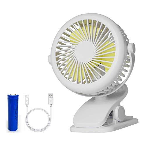 Drimran Clip on Fan Battery Operated, 5 Inch Small Table Fan Quiet Dorm Fan Tent Fan with 3 Speeds 360 Degree Adjustable, Mini Portable Fan for Stroller Camper Dorm Bed (Best Bestfire® Office Desks)