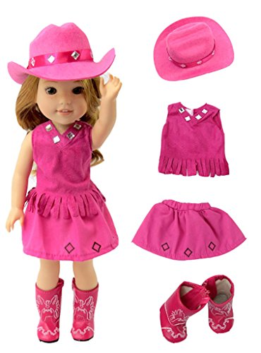 American Fashion World Hot Pink Little Cowgirl Hat Boots-Fits 14 Inch Wellie Wisher Dolls | 14 Inch Doll Clothing -