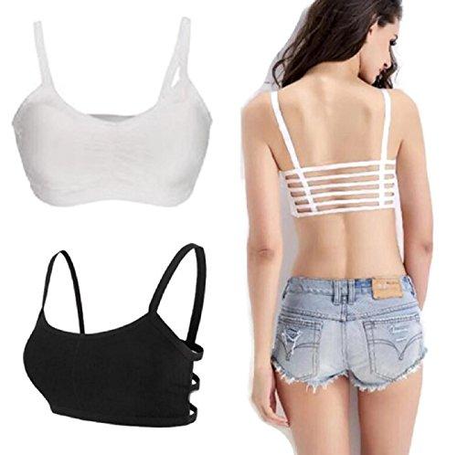 [Hot! Women Thin Backless Bra Fitness Stretch Bra Racerback Seamless Padded Padded Vest Bras Crop Tops (Freesize,] (Wire Bra Costume)