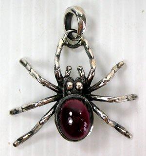 Spider Design Sterling Silver Pendant W/genuine Garnet Harley Biker