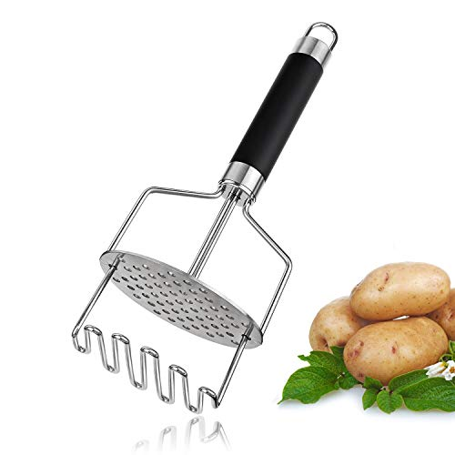 (Joyoldelf Dual-Press Potato Masher, Stainless Steel Potato Ricer Press with Rubber Non Slip Handle, Perfect for Mashing Baby Food, Vegetable, Fruits, Kitchen Baking)