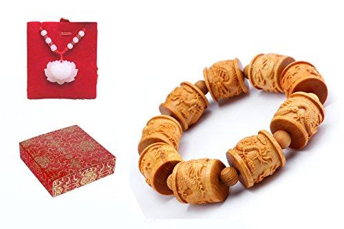 Carved Wood Bracelet - poppee The Arborvitae Handmade Hand Carved Tibetan Buddhist Prayer Beads Bracelet for Men and Women with Gift Box