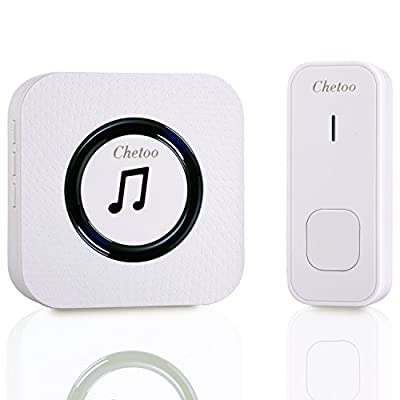 CHETOO Wireless Doorbell System- Best Set Of 1 Plug-In Long Range Wireless Receiver + 1 IP55 Waterproof Remote Push Button¨C Top Remote Doorbell With 55 Chimes & LED Indicator For Home/ Office -White