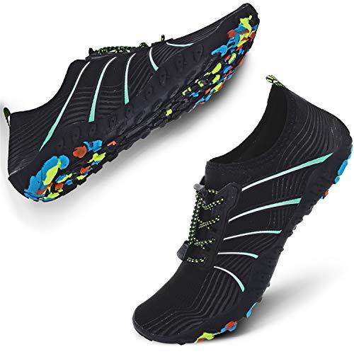 JIASUQI Mens Outdoor Beach Walking Sports Aqua Water Shoes Socks Black US 15 Women, 13 Men