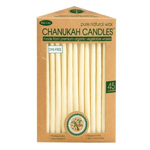 Eco-Friendly Hand Dipped Pure Natural Wax Chanukah Hanukkah Candles / 45 Candles per Box