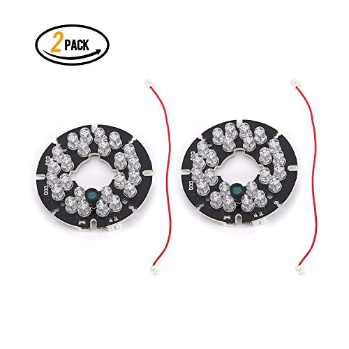24 LED 850nm IR Infrared Illuminator Board 90 Degree Round Plate IR Illuminator Board Bulb for CCTV Security Camera(2Packs)