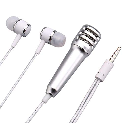 Mini Karaoke Condenser Microphone With Earphone For Church/Home / Karaoke/Business Meeting/PA Systems/Stage/ (Silver)