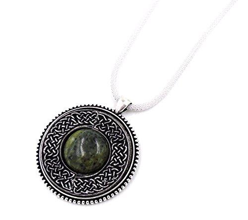 Connemara Irish Marble & Mullingar Pewter: Round Pendant Necklace