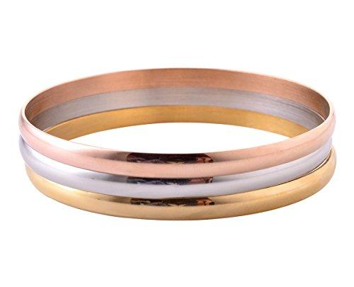 (Women's Set of 3 Tri-color Silver/Gold / Rose Gold Stainless Steel Bracelet Bangle Set)