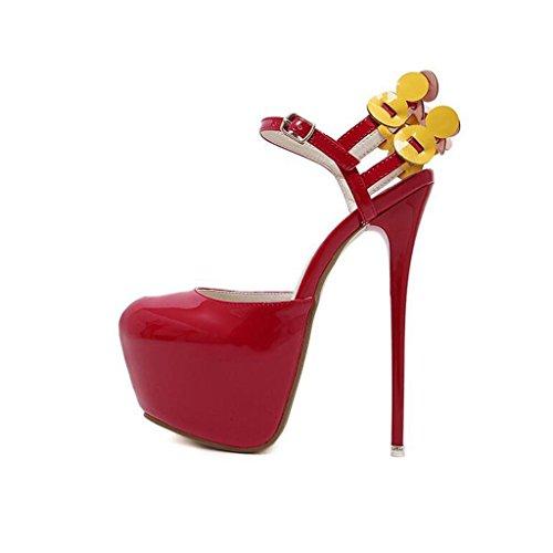 W&LM Sra Tacones altos Cabeza redonda Es bueno Plataforma a prueba de agua Boca rasa Propina Zapatos individuales golden