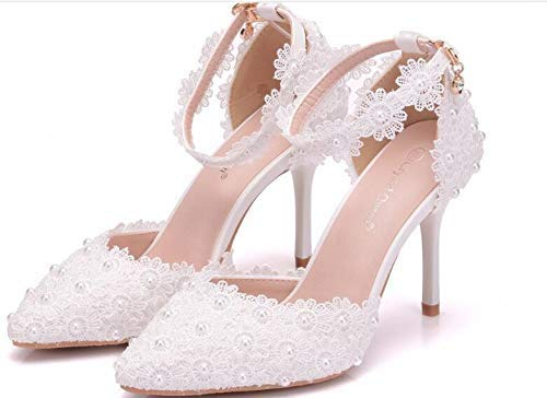a69251c3e52 Image Unavailable. Image not available for. Color  High heel lace shoes  woman bridal ankle straps ...