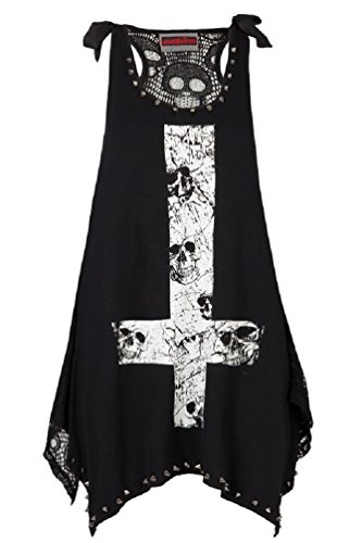 - Jawbreaker Women's Emo Gothic Skulls on Devil's Cross Top M / US 6 Black