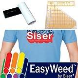 2-Roll (Black, White) 10'' x 5 Yds SISER EasyWeed Heat Transfer Vinyl + LogoIt Alignment Tool