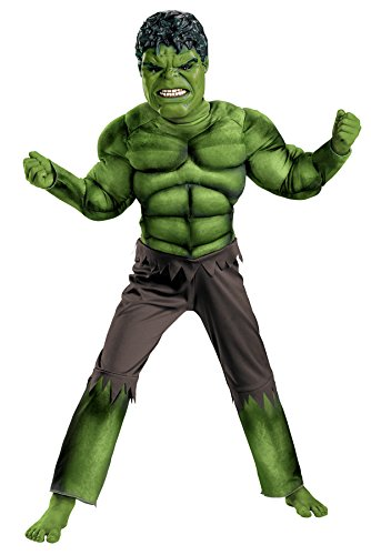 Avengers Hulk Classic Muscle Costume, Green/Brown, Medium (7-8) (Child Classic The Hulk Costume)