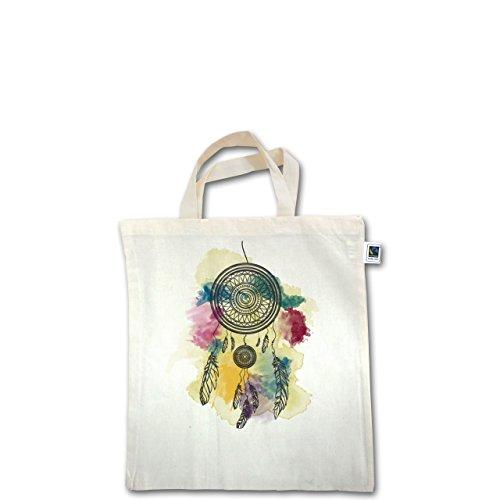 Boheme Look - Traumfänger Wasserfarbe Dreamcatcher Watercolor - Unisize - Natural - XT500 - Fairtrade Henkeltasche / Jutebeutel mit kurzen Henkeln aus Bio-Baumwolle