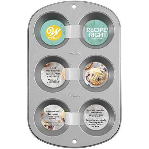 Wilton Recipe Right Muffin Pan, For great Muffins, Cupcakes, Breakfast Potato Egg Cups and so Much More, 6-cups (Best Breakfast Muffin Recipes)