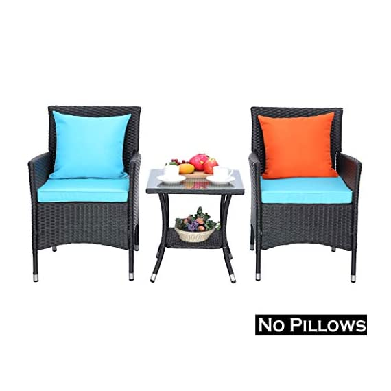 Do4U Outdoor Furniture Sets 3 Pieces Patio Wicker Bistro Set with Coffee Table Garden Lawn Dining Chairs (Turquoise) - 【3 PCs Patio Set Included】Composed of 2 single sofas and 1 coffee table with tempered glass for the complete outdoor conversation set. NO PILLOWS. 【All Weather-Resistant Resin】Designed Perfect for indoor, outdoor garden, apartment, park, porch, poolside and yard use, this wicker conversation set is strong enough to withstand the rain, sun, and wind. 【Upgraded Comfort】These lofty sponge padded cushions won't collapse after use, resist water, and easy to clean in between uses, and the cushion covers remove with a quick zip. - patio-furniture, patio, conversation-sets - 41XMk FCJpL. SS570  -