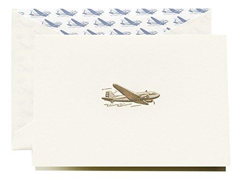 Crane & Co. Engraved Vintage Airplane Note (CF1607)
