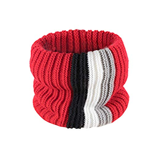 (Fheaven (TM) Child Boys Girls Winter Chunky Wide Knitted Cable Infinity Scarf Warm Circle Loop Scarf (Red))