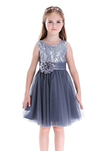 Bow Dream Flower Girl's Dress Birthday Party Sequin Silver 8 for $<!--$25.99-->
