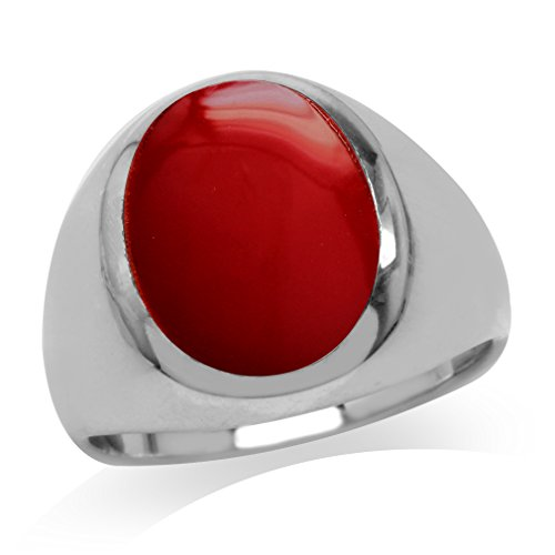 - Created Red Coral Inlay White Gold Plated 925 Sterling Silver Dome Ring Size 7