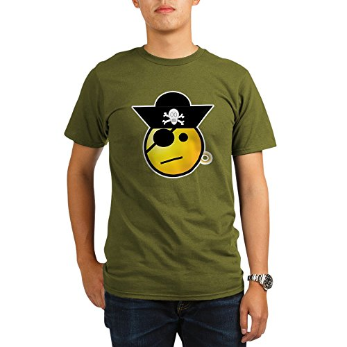 Truly Teague Organic Men's T-Shirt Dark Smiley Face Pirate - Olive, Medium ()