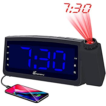 Amazon.com: SHANLONYI Projection Alarm Clock Radio with AM ...