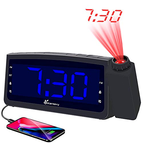 Vansky PAC02 USB Charger, Digital Projection Clock for Bedrooms, FM Radio, 6.57 LED Display with Dimmer, Dual Alarm, Snooze, Battery Backup, Blue