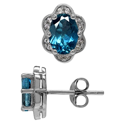 2.08ct. Genuine London Blue Topaz White Gold Plated 925 Sterling Silver Flower Post Earrings