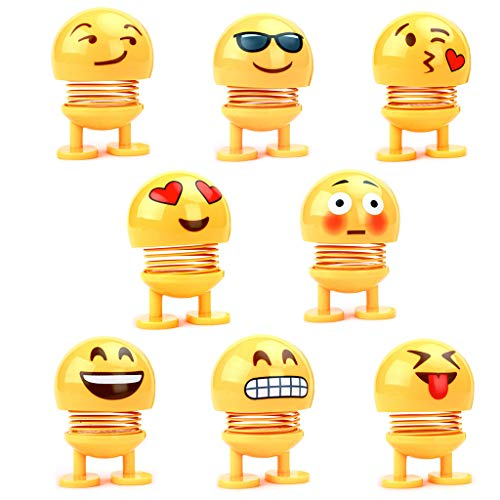 (8 PC Cute Bobble Head Dolls, Funny Smiley Face Springs Dancing Toys Cute Expression Shaking Head Dolls for Car Dashboard Ornaments, Party Favors, Gifts, Home Decorations (Yellow))