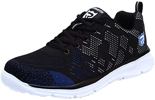 LARNMERN Steel Toe Work Safety Shoes Men Reflective Casual Breathable Outdoor Sneakers, LM30K (13, Black Blue)