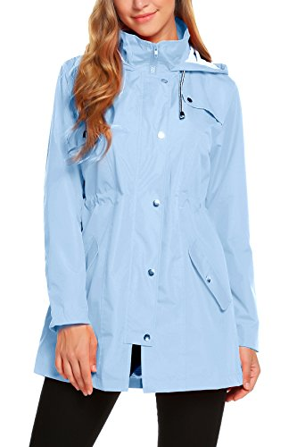 ZHENWEI Rain Jacket for Women Waterproof with Hood Lightweight Raincoat Outdoor Windbreaker, Lake Blue, L