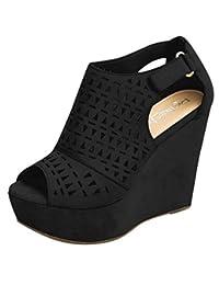 Jesper Wedge Heel Peep Toe Perforated Upper Retro Roma Hollow Vamp Womens Strap Buckle Thick Bottom Sandals