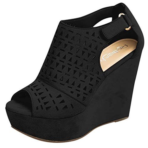 Womens Wedge Sandals, Adjustable Ankle Strap Comfort Platform Sandal, Casual Hollow Open Toe Sandals Dress Shoes Black