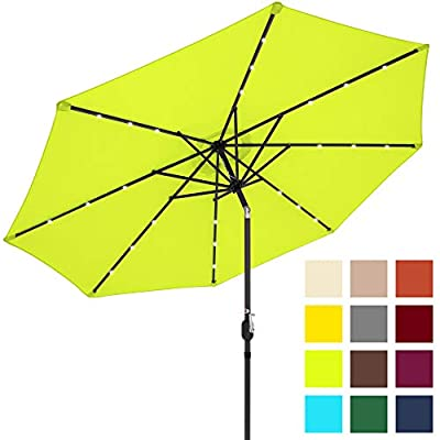 Best Choice Products 10ft Solar LED Lighted Patio Umbrella w/Tilt Adjustment, Square Umbrella Base