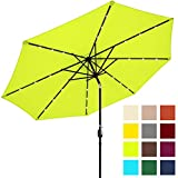Best Choice Products 10ft Solar LED Lighted Patio Umbrella w/Tilt Adjustment - Light Green