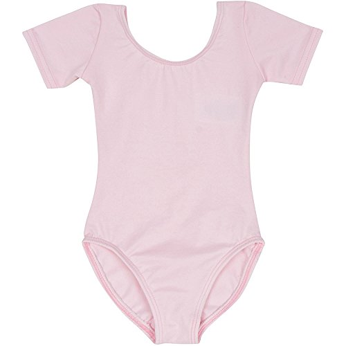 Infant Baby Girl Leotard for Dance, Gymnastics and Ballet with Short Sleeve Light Pink T (12-24M)