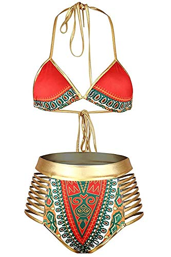 Century Star Women's African Sexy Print Bikini Metallic Swimsuit Two Pieces High Waist Cutout Halter Neck Bathing Suit Red-Gold Medium (fits Like US 4-6) ()