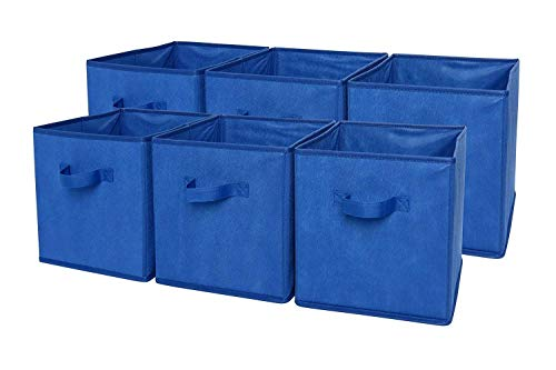SodyneeFoldable Cloth Storage Cube Basket Bins Organizer Containers Drawers, 6 Pack, Blue ()