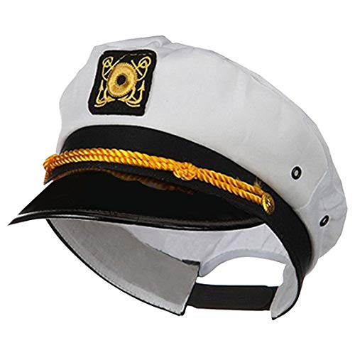 Jacobson Hat Company Adult Ship Navy Officer Yacht Sea Skipper Captain Hat Cap Costume Accessory, White, One Size
