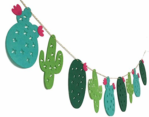 Alemon Tropical Leaves Green Cactus Plant Banner Luau Party Hawaiian Party Supplies